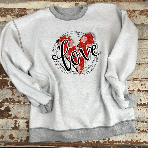LOVE circle graphic- Inside Out Sweatshirts
