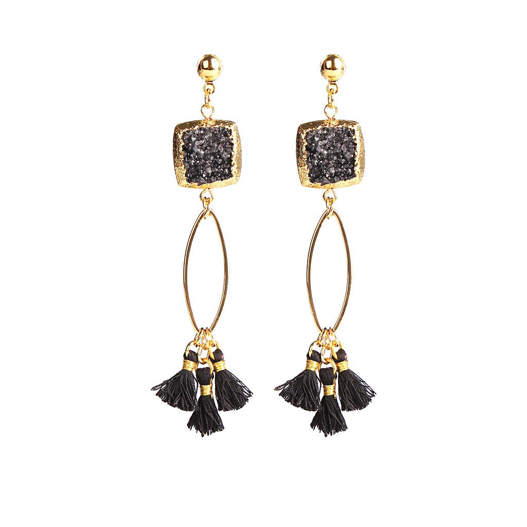 MAGNOLIA BLACK DRUZY TASSEL EARRINGS
