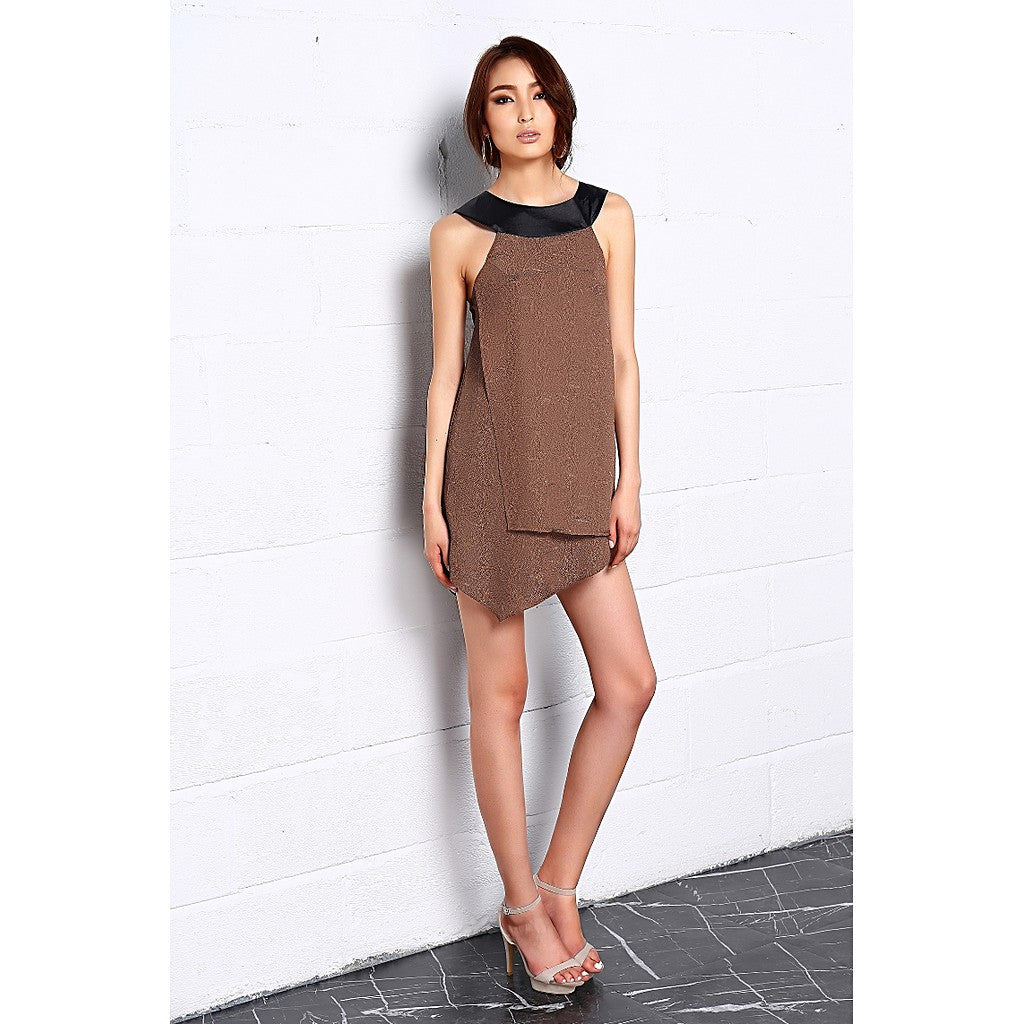 Embossed in Herbs Asymmetric Dress