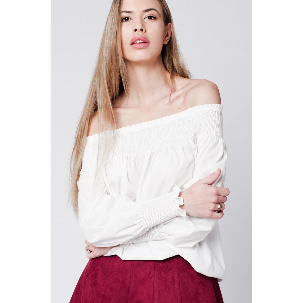 White cold Poplin shoulder top