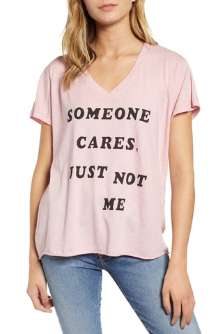 Wildfox Just Not Me V-neck - Taupe Rose
