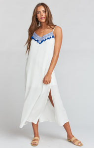 Angie Slip Dress - Casablanca Blues Embroidery