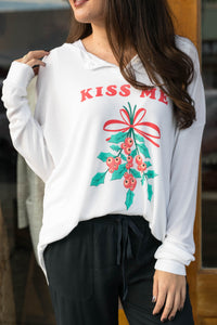 Wildfox Long Sleeve Button Henley - Kiss Me