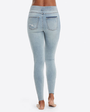 Distressed Skinny Jeans with Side Stripe - Lightwash