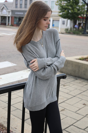 BCBG Sweater Top Link Stitch Pullover