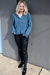 Frayed Edge Button Up Top - Blue