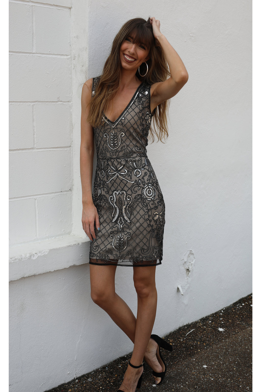 Forever Lovely Nude Sequin Dress