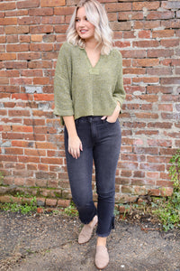 Cooper Crop Sweater - Olive