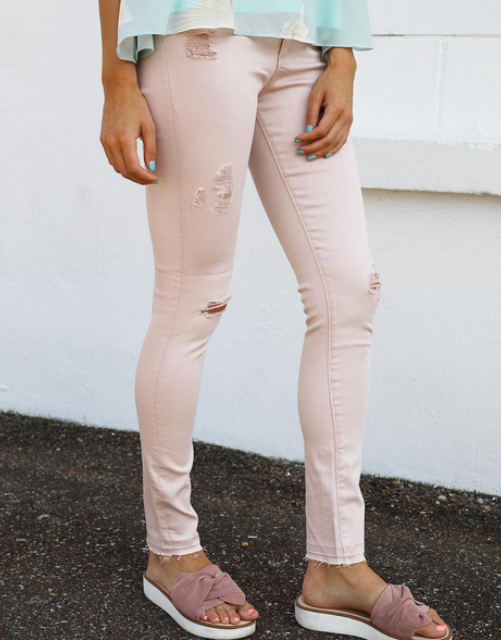 AG The Farrah Skinny Ankle Distressed Rose Quartz, Bottoms - shoplagreen.com