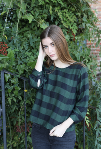 V-Back Tie Blouse - Holiday Pine