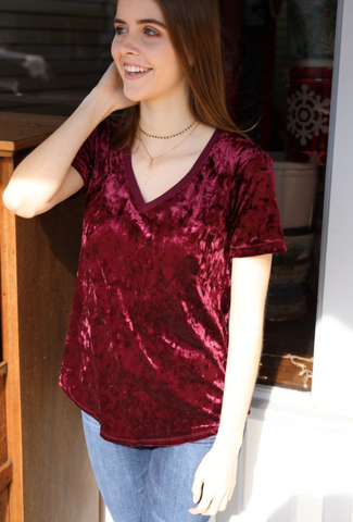 The Crushed Velour V-Neck Tee - Midnight Berry