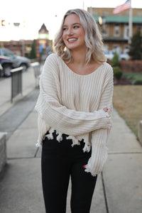Cropped Distressed Sweater - Cream