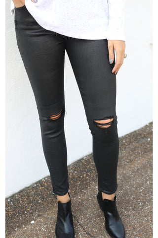 AG Farrah Skinny Ankle Jean - Lacquered Distressed Pure Black