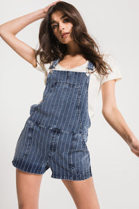 Z-Supply Striped Denim Short Overalls