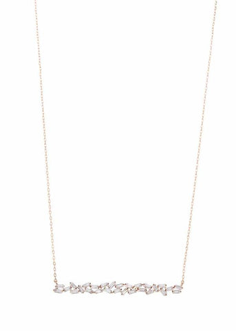 Theia Hestia Greek Godess of Fire Bar Necklace  Rose Gold