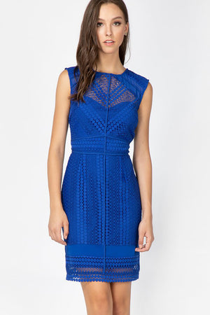Londyn Woven Lace Sheath Dress