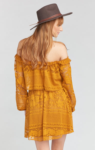 Bess Dress - Moonlight Roses Lace Marigold