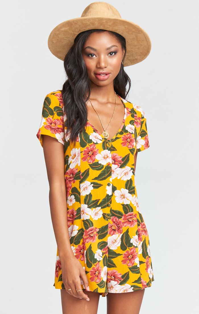 Show Me Your Mumu Glenn Romper - Mad for Magnolia Pebble