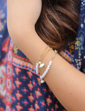 CP White Opal Tassel Bracelet - L.A. Green Exclusive, Accessories - shoplagreen.com