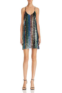 Vivian Slip Dress - Cocktail Stripe Sequins