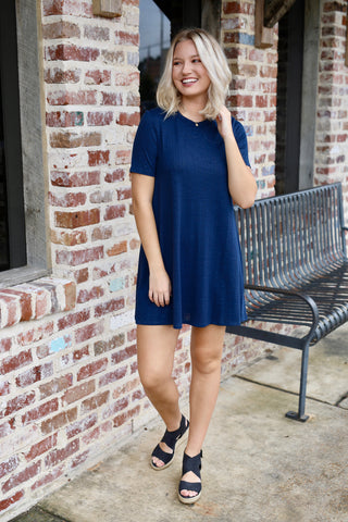 A-Line Yoke Dress - Dark Navy