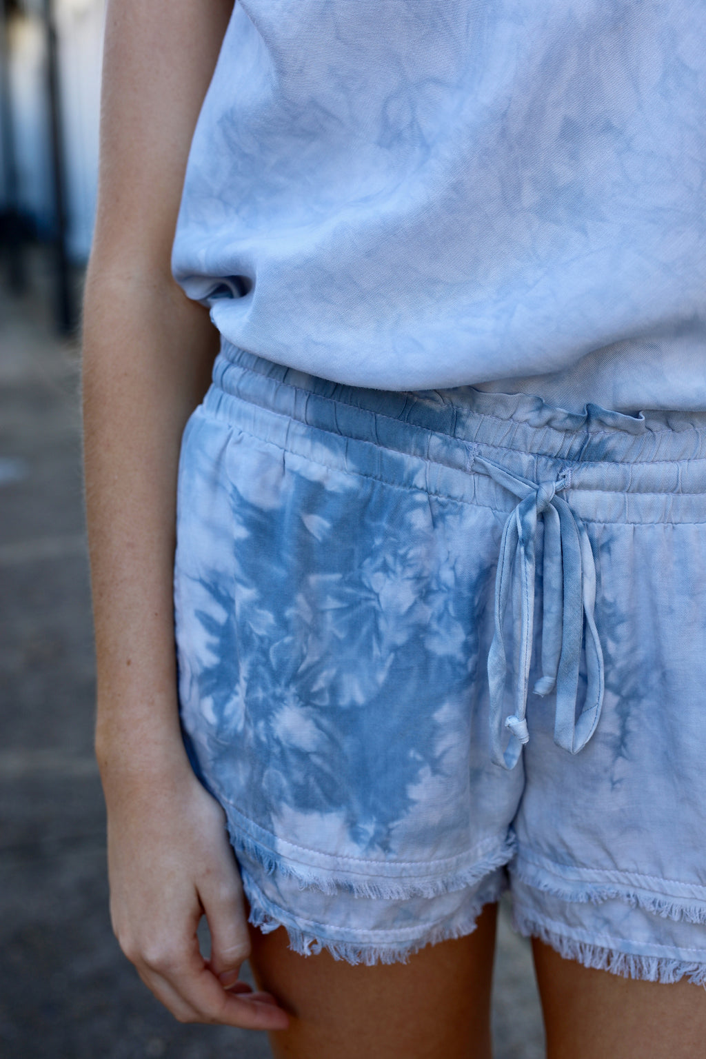 Frayed Flowy Shorts - China Blue