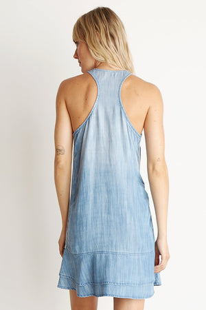 Racer Back Stripe Trim Dress - Silverlake Wash