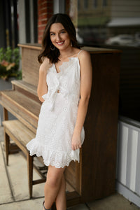 Forever Eyelet Dress with Tie Front