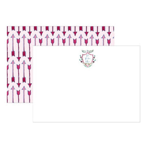 Sorority Watercolor Crest Notecards - Pi Beta Phi
