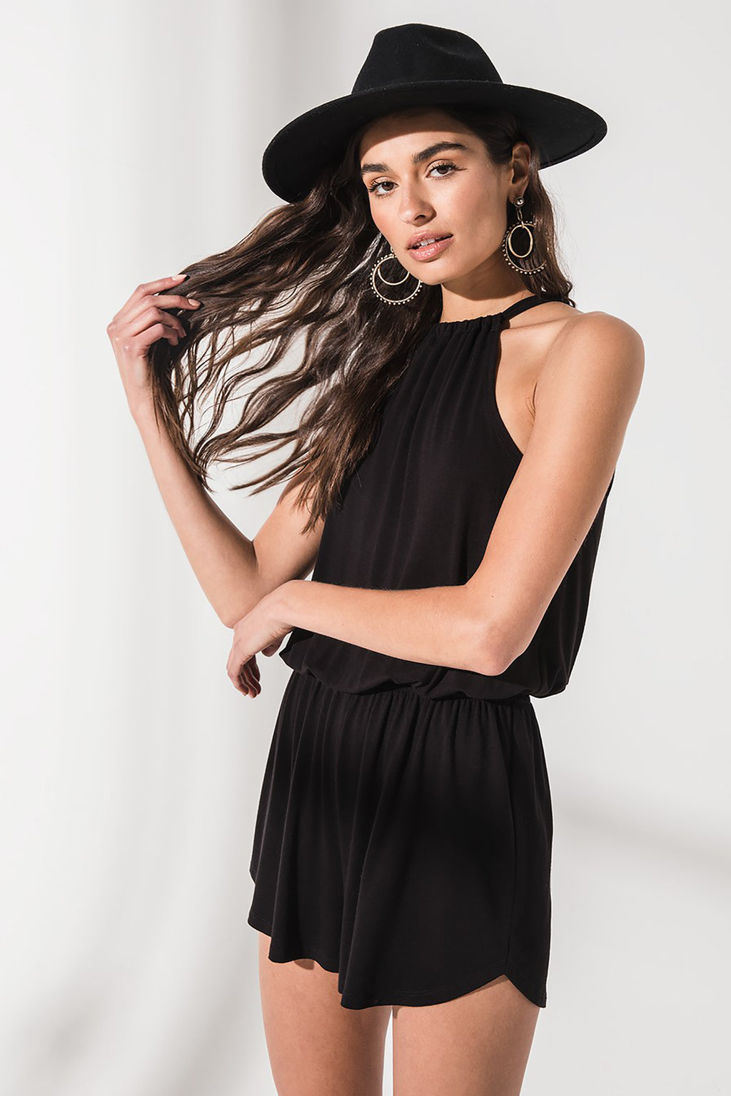 The Amelia Halter Romper - Black