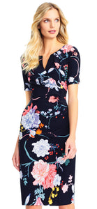 Zen Blossom Sheath Dress - Black Multi
