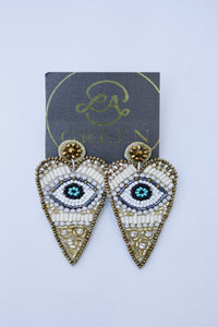Beaded Heart Statement Earrings with Eye