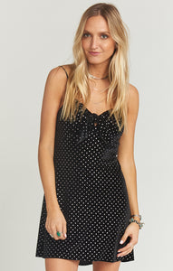 Constance Dress - Stud Velvet Black