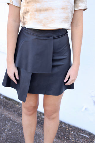 Ruffle Front Leather Skirt - Black