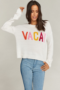 Cropped Varsity Sweater - Vacay Graphic