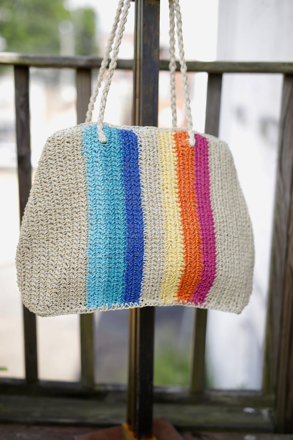 Big Rainbow Straw Bag