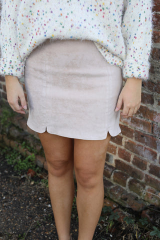 Front Slit Suede Skirt - Blush