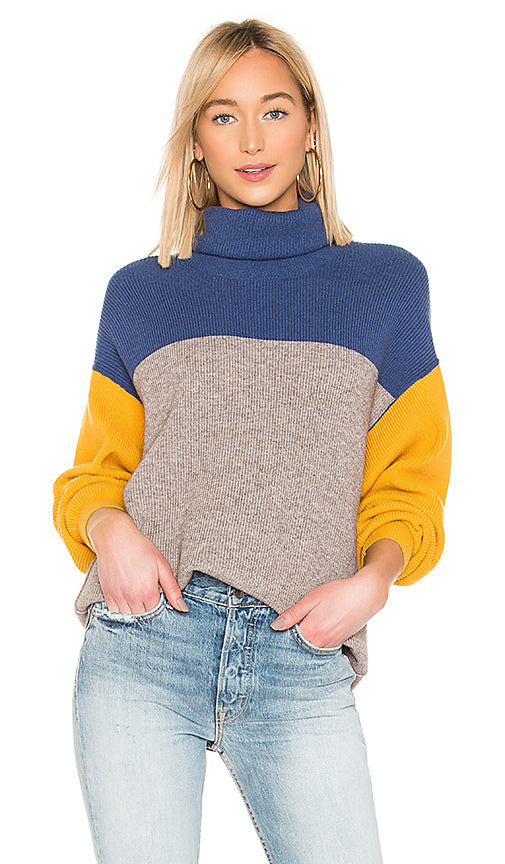 Softly Structured Colorblock Sweater - Blue