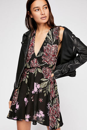 Marnie Printed Mini Dress - Black