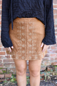 Embroidered Suede Mini Skirt - Camel
