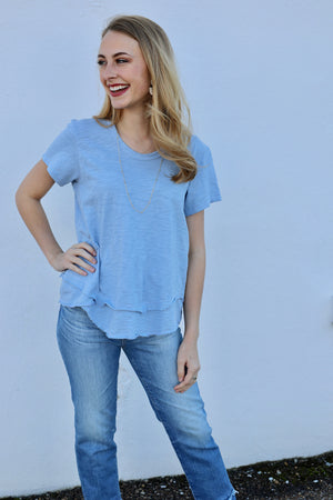 Short Sleeve Mock Layer - Periwinkle