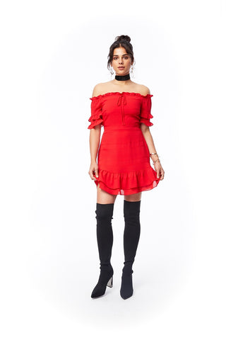 Scorpion Ruffle Dress - Red