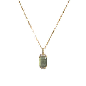 Kosor Emerald Cut Labradorite + Crystal Necklace - Gold