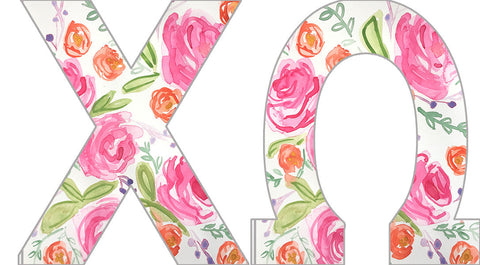 Floral Sorority Letters - Chi Omega
