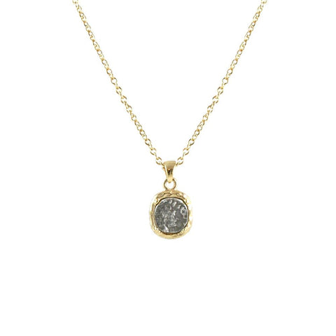 TAT2 Coin + Crystal Necklace - 16""
