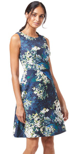 Adrianna Peaceful Hydrandeas Dress- Navy Multi