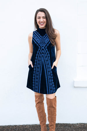 Holiday blues dress