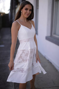Elyse Fit And Flare Dress - White + Nude