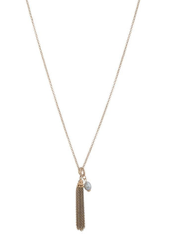 Theia Gray Pearl Long Mini Tassel Necklace