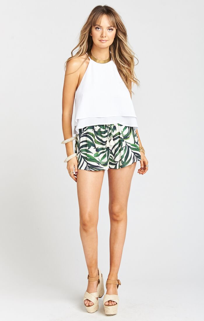 Serena Smocked Shorts - Peruvian Palm Breeze